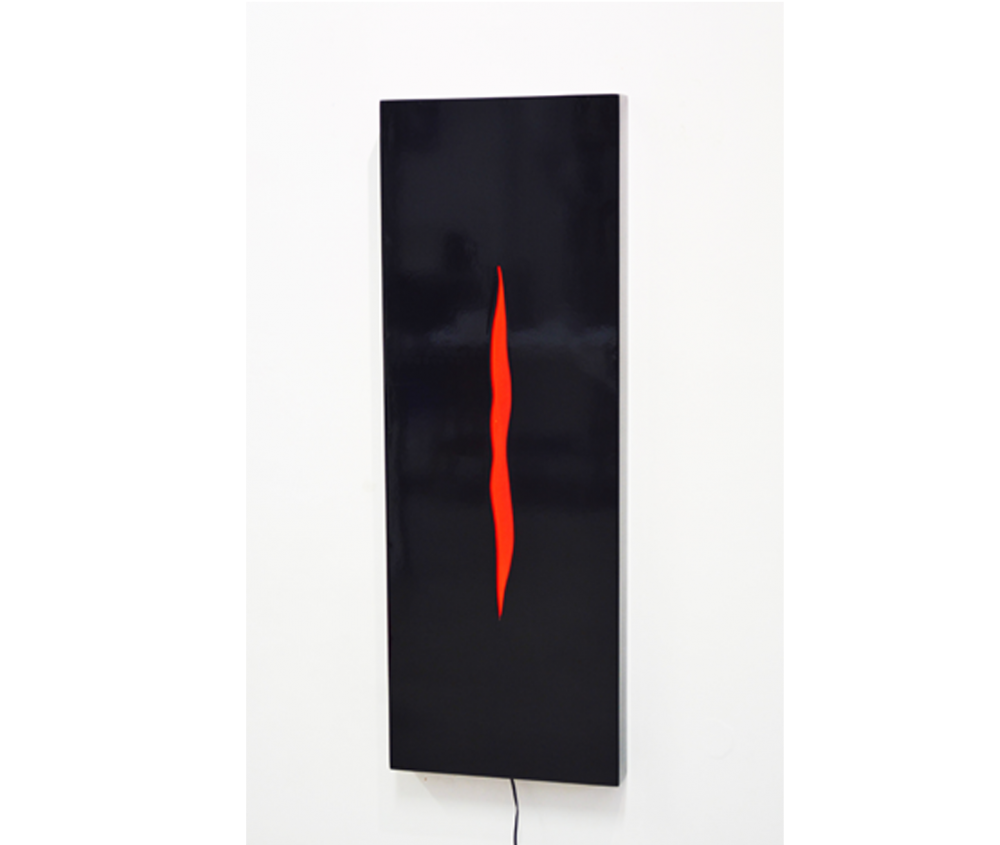 Gersony: Cleft II - slit series, 2016. Laminated wood and e light, 82x29x5cm
